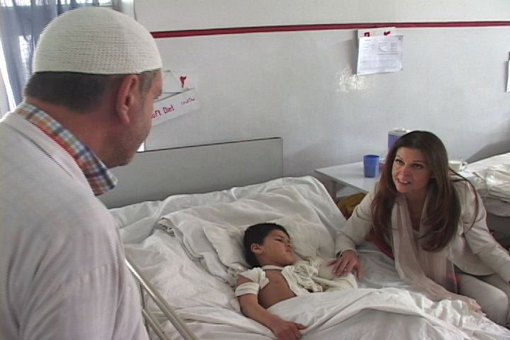 Sonia Nassery Cole at the Children's Hospital in Kabul, Afghanistan.