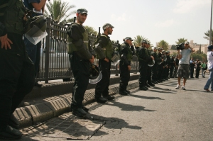 Israeli police stand at attention on Friday amid heightened security threats in Jerusalem.