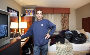 Richard Fabio, a Hurricane Sandy evacuee, in the Staten Island Ramada Inn. He has been living in a hotel since Dec. 22, 2012. (Samira Bouaou/All Rights Reserved)